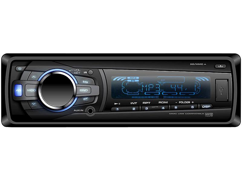 Creasono USB-Autoradio mit App-Fernbedienung/BT/SD/USB CAS-4370app